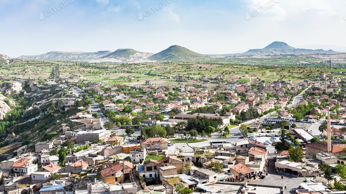 panoramic view of Uchisar village in Cappadocia
