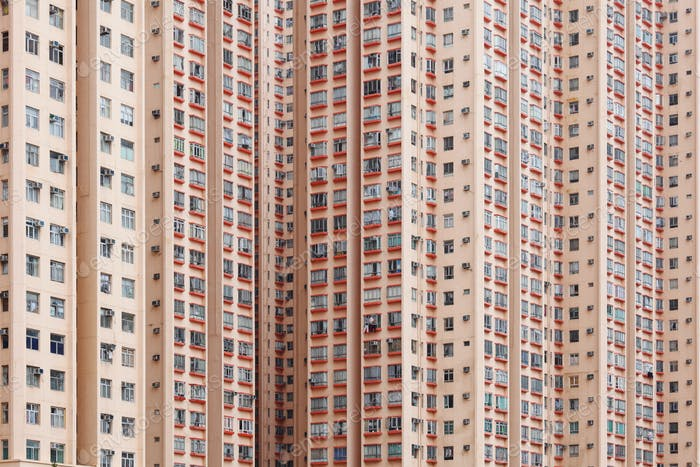 Hong Kong crowded apartment building