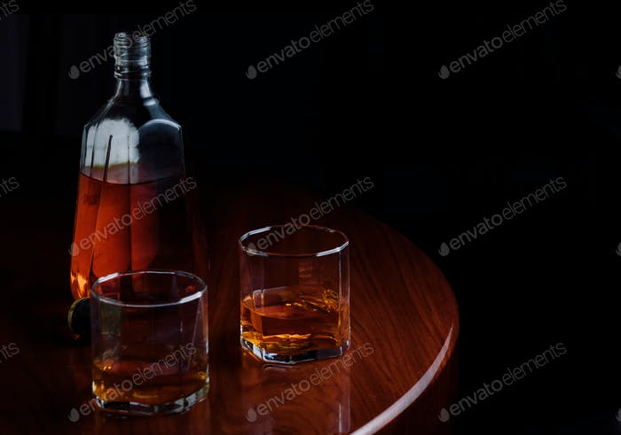 Bottle and glass of alcohol drink