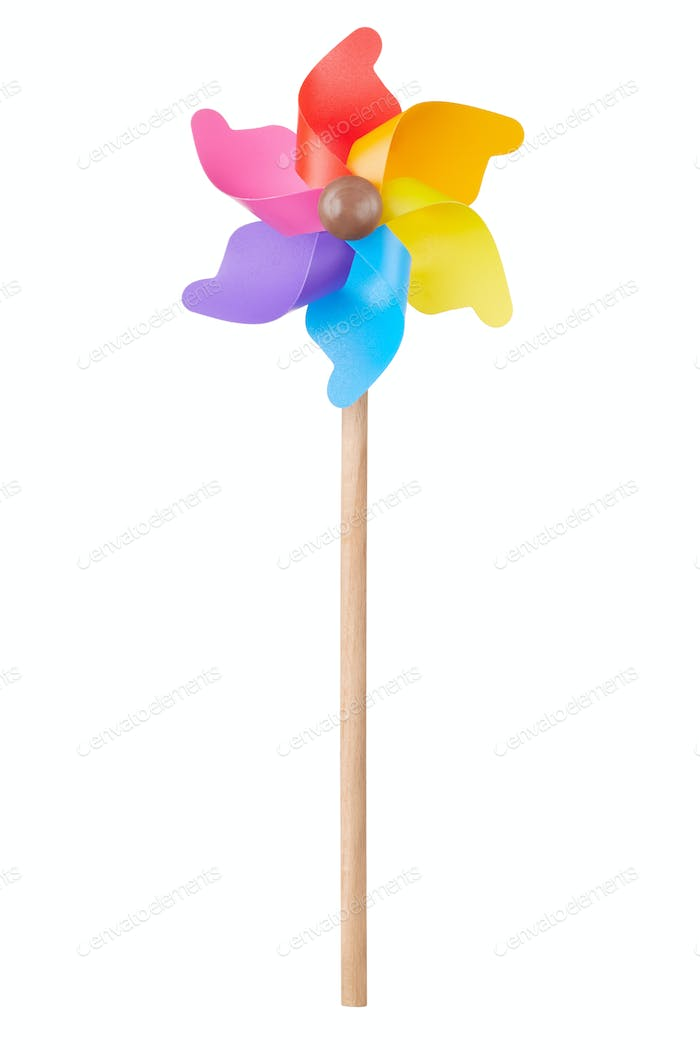 Pinwheel, colorful toy, isolated on white