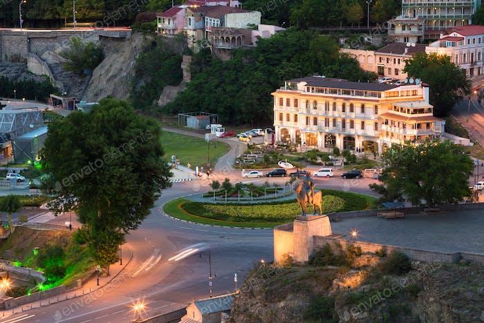 Top View Of Statue King Vakhtang Gorgasali On Metekhi Cliff, Eur