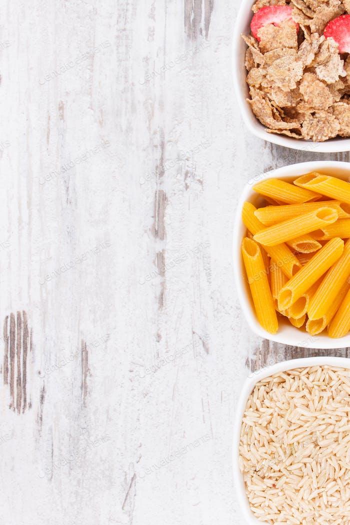 Produkte und Inhaltsstoffe, die Kohlenhydrate und Ballaststoffe enthalten