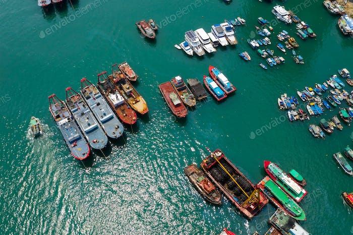 Aberdeen, Hong Kong 12 May 2019: Top view of Hong Kong fishing harbor port