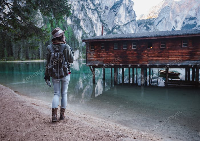 Young girl at the Lake Braies
