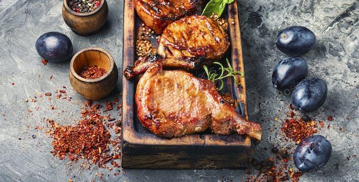 Pork ribs grilled