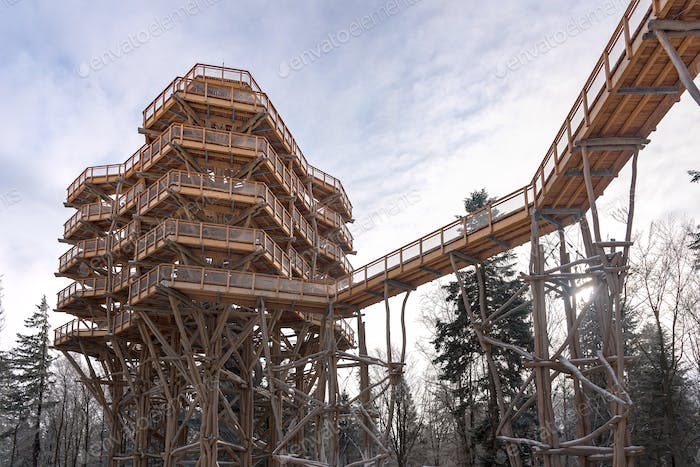 Treetop observation tower at Slotwiny Arena ski station