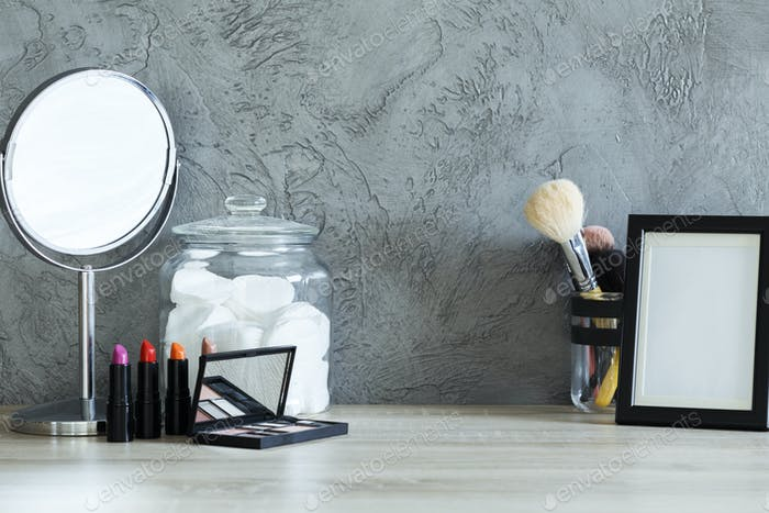 Cotton jar, mirror and frame