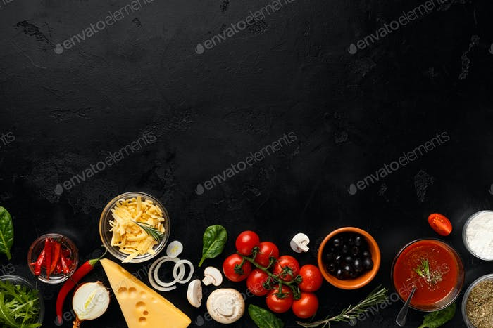 Frame of pizza cooking ingredients, vegetables and cheese