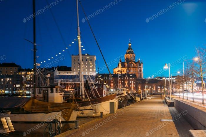 Helsinki, Finland. Pier With Boats, Pohjoisranta Street And View