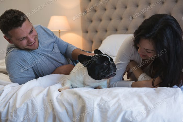 Couple playing with their pet dog in bedroom at home