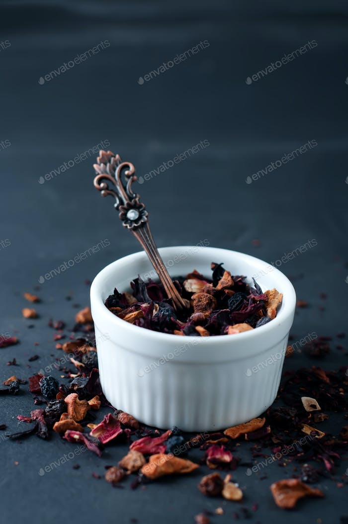 Mixture herbal floral fruit tea with petals