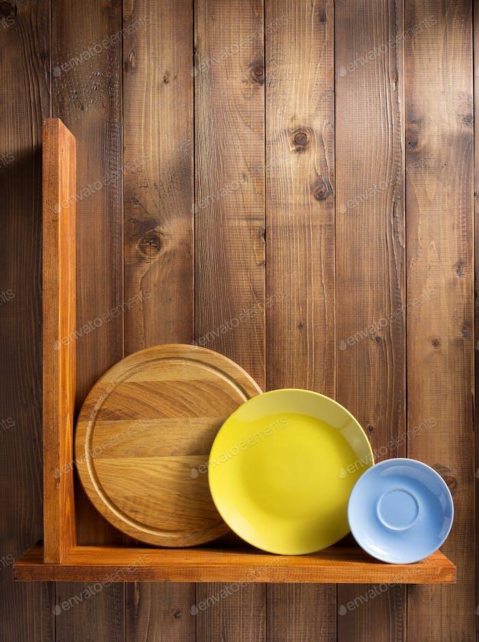 Platte an der Küche Holzregal an der Wand