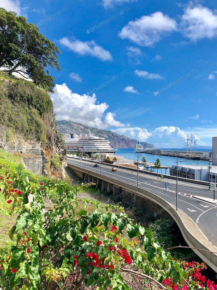 beautiful view of Funchal city road, Madeira, Portugal