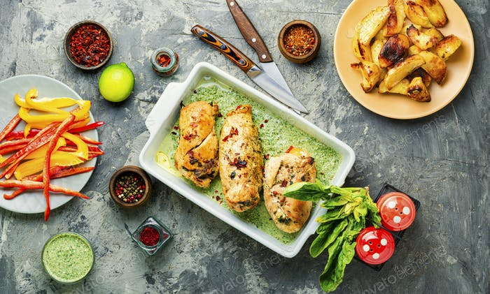 Rolled chicken stuffed with spinach