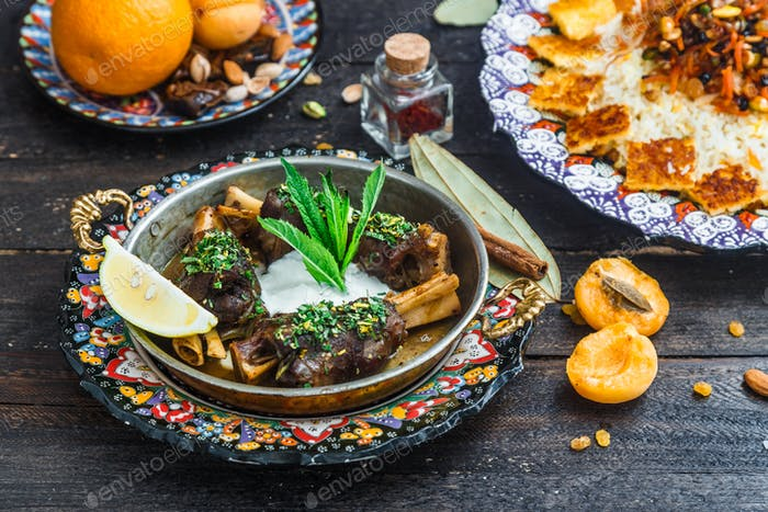 Lamb shanks with yoghurt and mint, arabian style