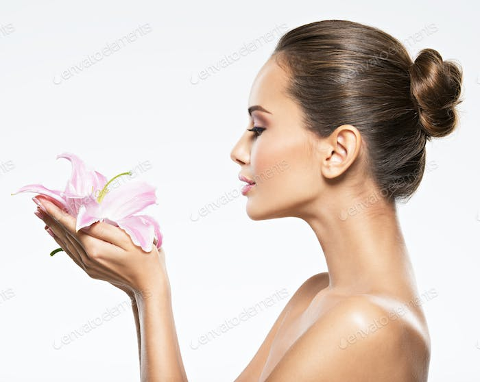 Woman flower beauty skin care
