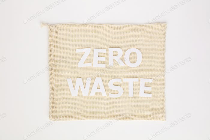 Zero waste paper text on cotton bag, flat lay