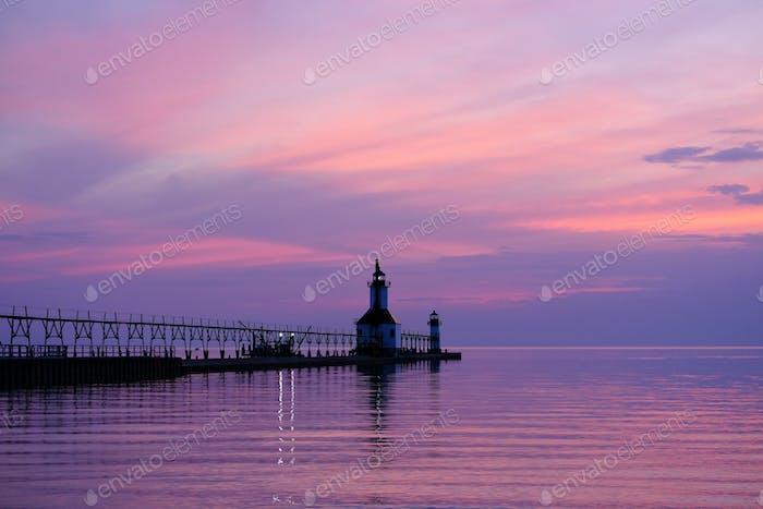 St. Joseph North Pier Lights, built in 1906-1907