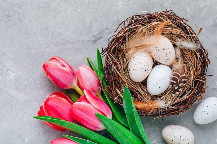 Ostereier im Nest mit rosa Tulpen Blumenstrauß auf grauem Steinhintergrund