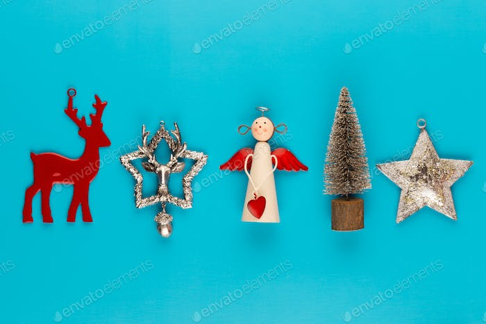 Collection of Christmas objects. Greeting gard.