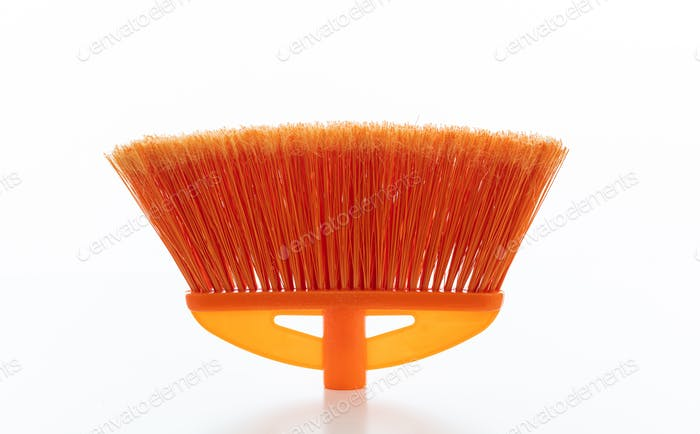 Cleaning floor push broom isolated against white background.