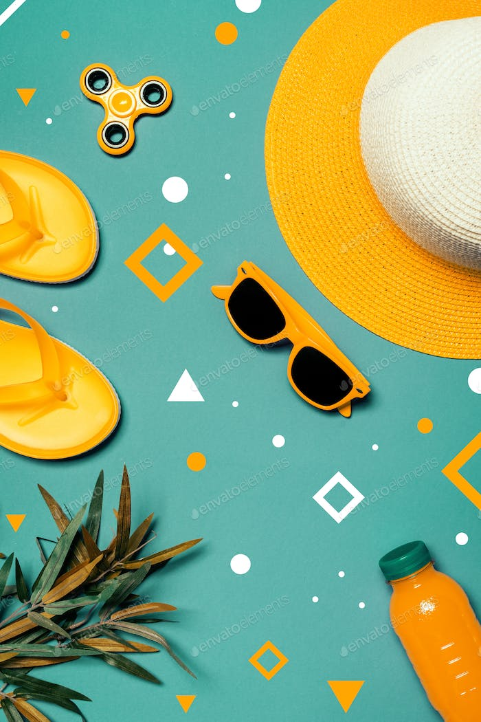Straw hat and sunglasses in summertime holiday vacation concept