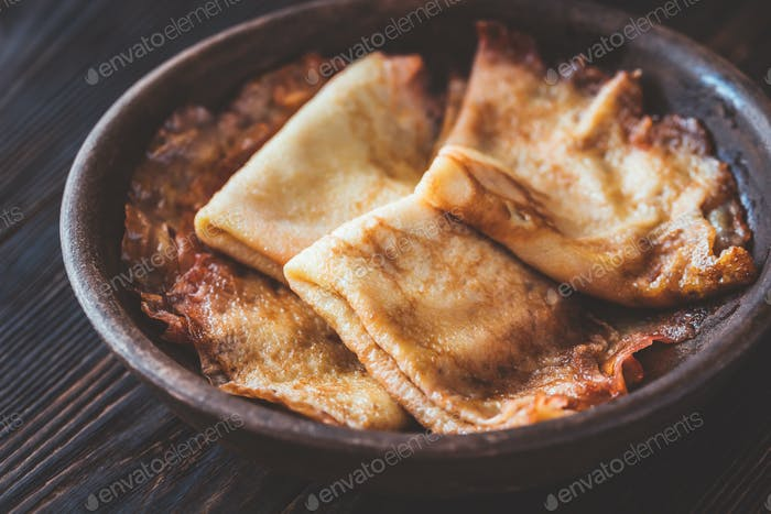Crepes Suzette on the plate