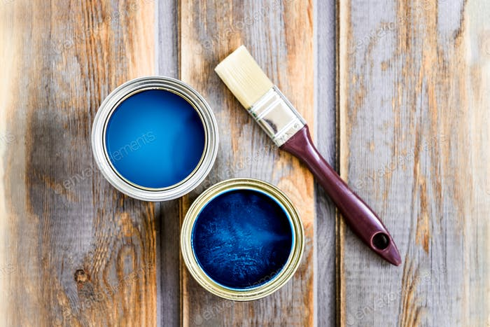 Wooden Box with Brush, and Open Cans of Blue Paint
