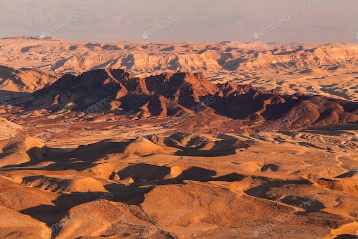Sunset in the Negev desert. Makhtesh Ramon Crater