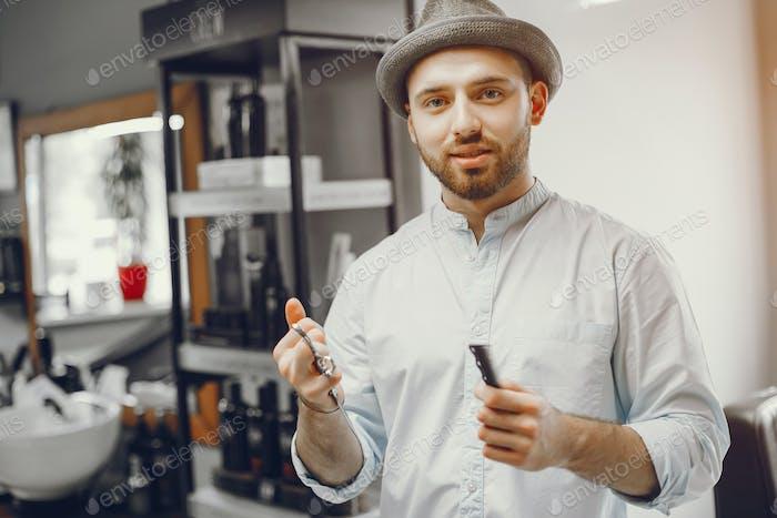 Beautiful man in barbershop