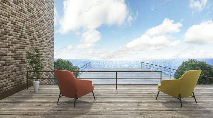 3d rendering 2 beautiful chairs on outdoor terrace with good view