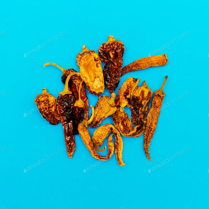 Set of Dried Peppers. Minimal art style
