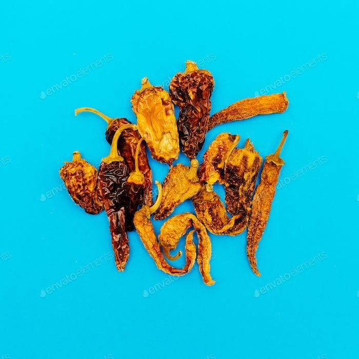 Set von getrockneten Paprika. Minimaler Kunststil