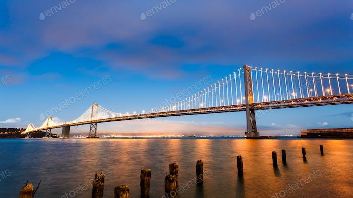 San Francisco-Oakland Bay Bridge at sunset