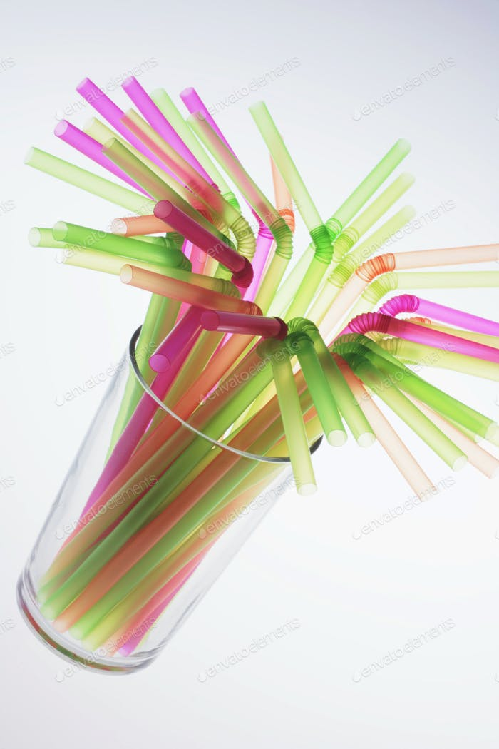 Drinking Straws in Glass
