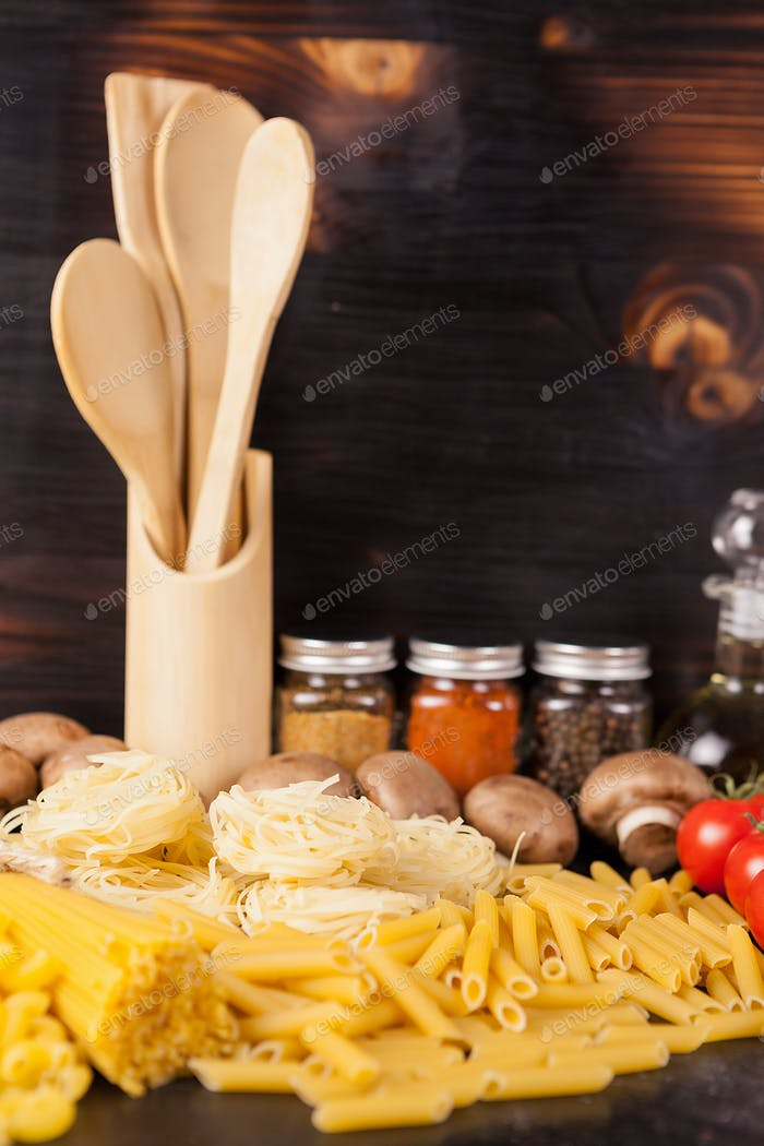 Healthy and delicous meal - raw uncooked pasta