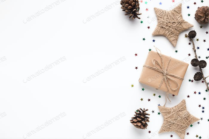 Christmas handcraft gift boxes and stars on white