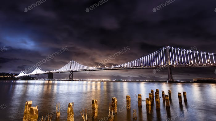 San Francisco-Oakland Bay Bridge at night