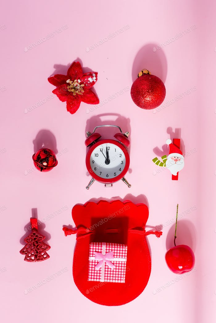 Creative background from Christmas accessories with shadows