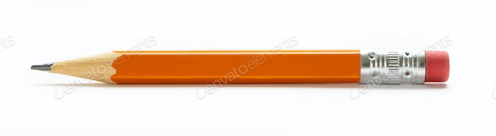 Yellow orange pencil with eraser on a white background