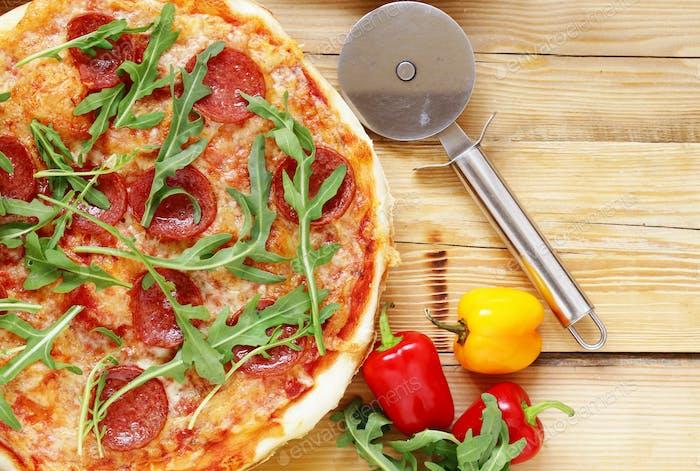 Traditional Italian Pepperoni Pizza