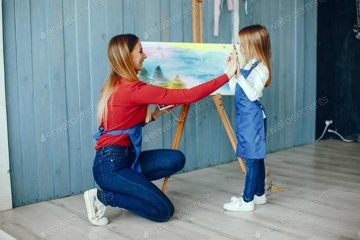 Mom and daughter are drawing