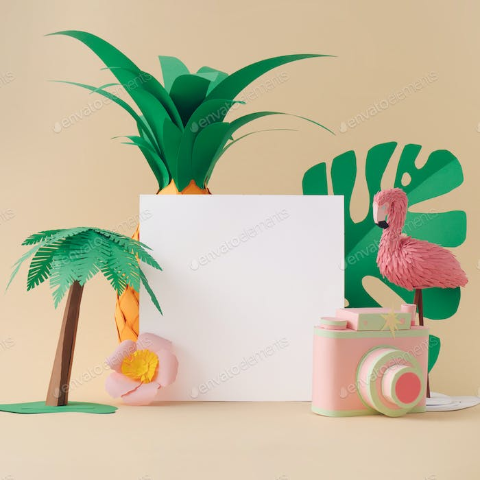 Creative paper art layout with flamingo, palm, pineapple and camera