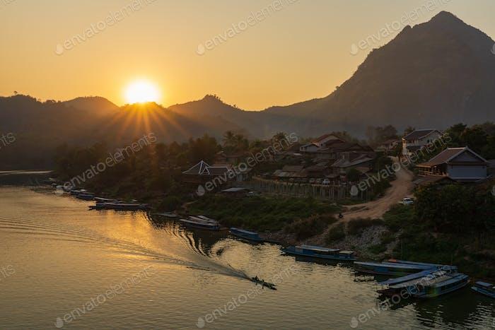 Aerial view of Nong Khiaw village at sunset, Laotian, Luang Prabang, Laos
