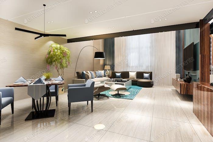 3D representación moderna comedor y sala de estar con decoración de lujo