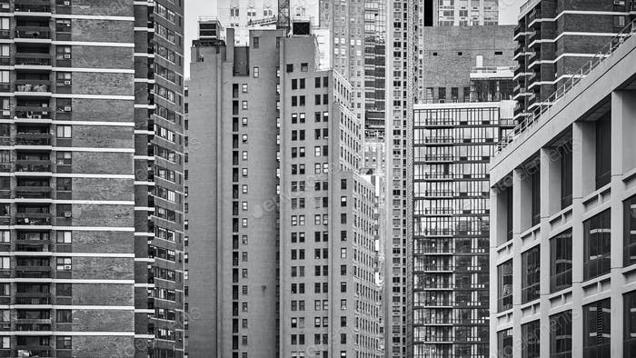 Black and white picture of New York architecture, USA.