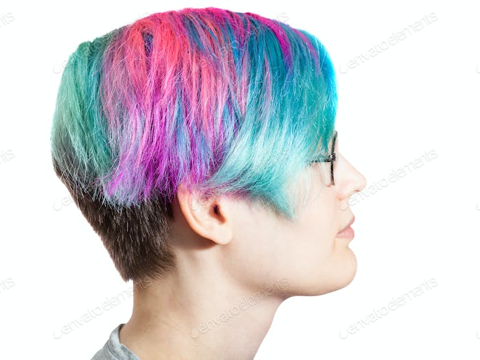 woman with glasses and multi colored dyed hairs