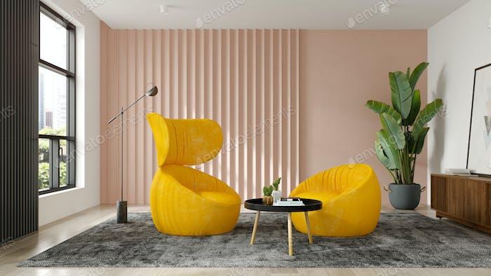 Interieur des modernen Wohnzimmers mit Sessel 3 D Rendering