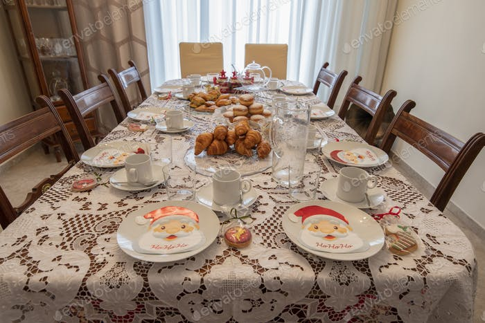 Table served for Christmas brunch