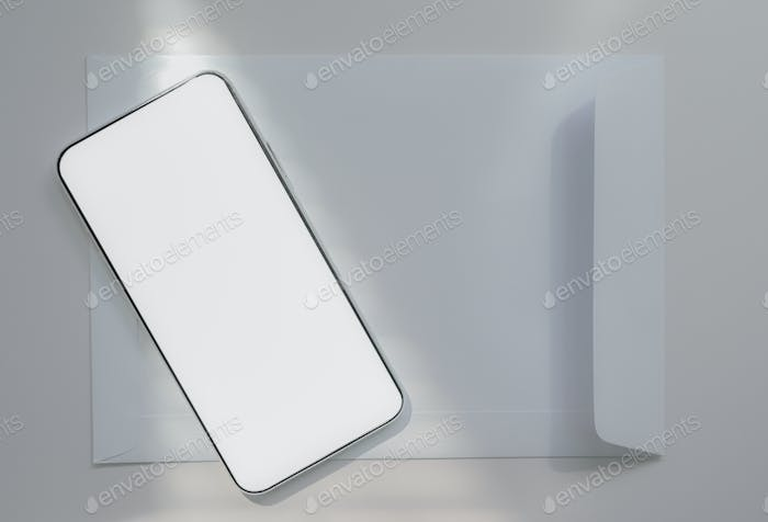 Close-up shot of A smartphone placed on a white envelope, Communication concept.